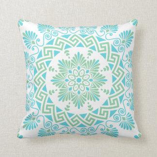 Turq and Mint Greek Key Meander Mandala Pattern Cushion