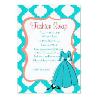 Turqoise & Coral Fashion Swap 13 Cm X 18 Cm Invitation Card