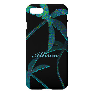 Turqoise Opal Palm Trees on Black iPhone 7 Case