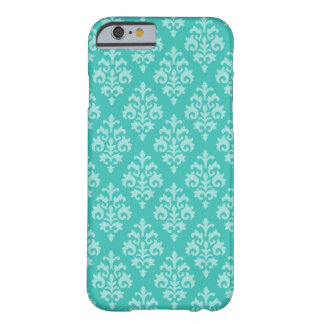 Turquoise and Aqua Damask Pattern iPhone 6 Case Barely There iPhone 6 Case