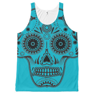 Turquoise and Black Sugar Skull All Over Tank Top