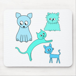 Turquoise and Blue Cats. Mousepads