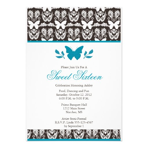Turquoise and Brown Butterfly Sweet 16 Invitaitons Invitation
