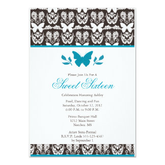 Turquoise and Brown Butterfly Sweet 16 Invitaitons 13 Cm X 18 Cm Invitation Card