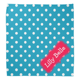 Turquoise and Flower Pink Polka Dot Personalized Do-rag