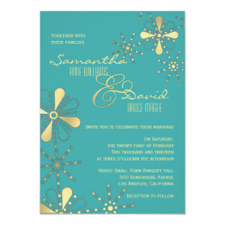 Turquoise and Gold Indian Inspired Wedding 13 Cm X 18 Cm Invitation Card