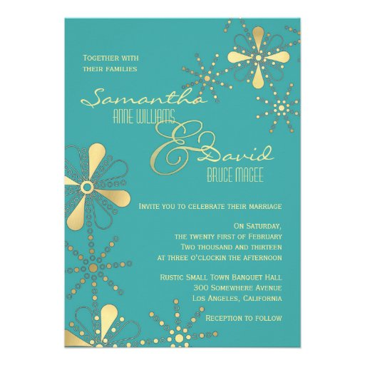 Turquoise and Gold Indian Inspired Wedding Custom Invitation
