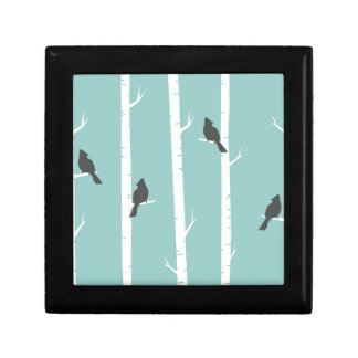 Turquoise and Gray Birds and Birch Trees Gift Box