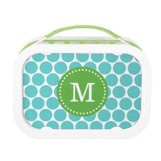 Turquoise and Green Mod Dots Monogram Lunch Box