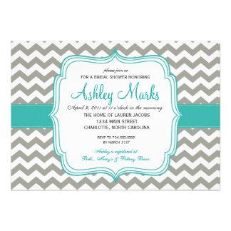 turquoise and Grey Chevron Invitaiton Invitations
