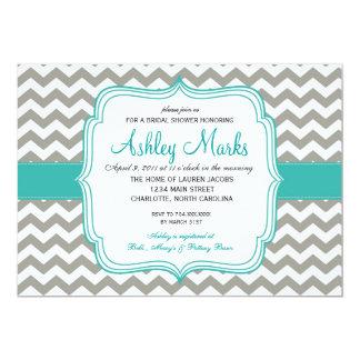 turquoise and Grey Chevron Invitaiton 13 Cm X 18 Cm Invitation Card