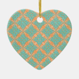 Turquoise and Orange Damask Pattern Ceramic Heart Decoration