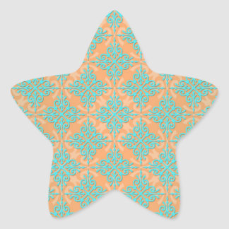 Turquoise and Orange Damask Pattern Star Sticker