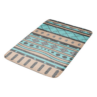 Turquoise And Peach Aztec Pattern Bath Mats