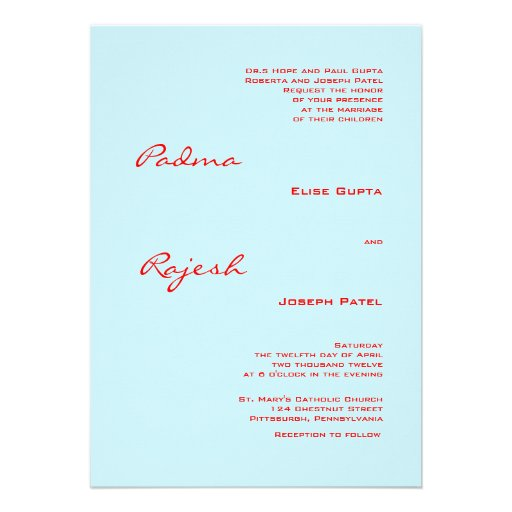 Turquoise and Red Paisley Indian Wedding Personalized Invitations