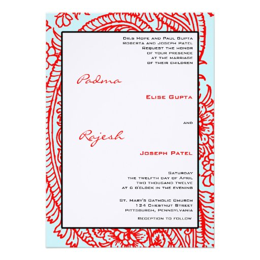 Turquoise and Red Paisley Indian Wedding Personalized Announcement
