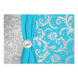 Turquoise and Silver Damask Quinceanera RSVP Card