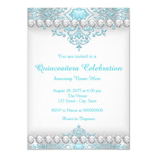 Turquoise and Silver Diamond Quinceanera 4.5x6.25 Paper Invitation Card