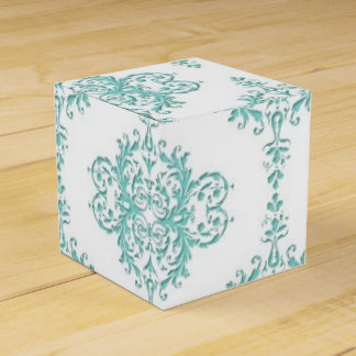 Turquoise and White Fancy Floral Damask Pattern Favour Box