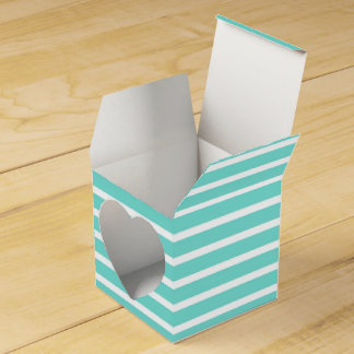 Turquoise and White Stripe Pattern Wedding Favour Box