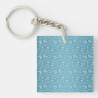 Turquoise and White Swirling Vines Pattern Key Ring