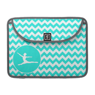 Turquoise, Aqua Color Chevron; Ballet Sleeve For MacBooks