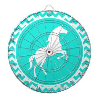 Turquoise, Aqua Color Chevron; Equestrian Dartboard