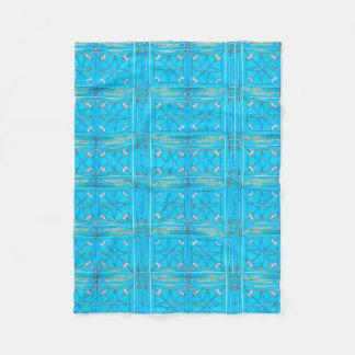 Turquoise Arabian Metal Door Pattern Fleece Blanket