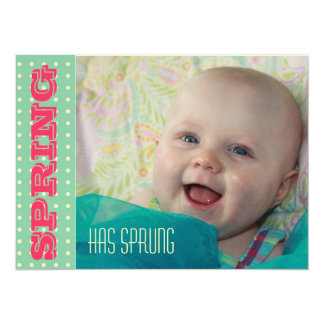 Turquoise Baby Spring Celebration Card Personalized Invitations