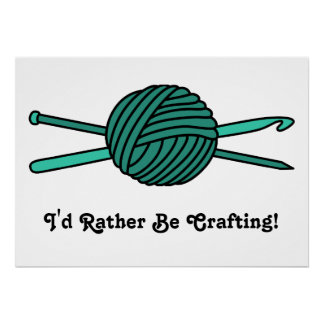 Turquoise Ball of Yarn (Knit & Crochet) Poster