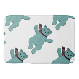 Turquoise Bear by Leslie Harlow Bath Mat