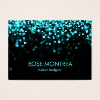 Turquoise & Black Falling Glitter Appoinment card