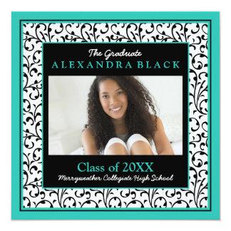Turquoise Black White Floral Photo Graduation Card