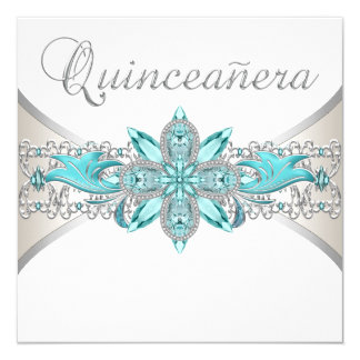 Turquoise Blue and Silver Quinceanera 13 Cm X 13 Cm Square Invitation Card