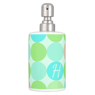 Turquoise Blue, Apple Green & Light Coral Circles Soap Dispenser And Toothbrush Holder