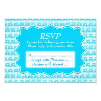 Turquoise Blue Carriages Quinceanera Invitation