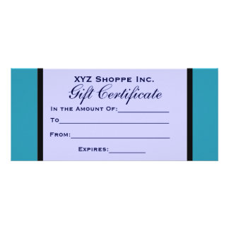 Turquoise Blue Gift Certificate Custom Rack Cards