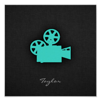 Turquoise; Blue Green Movie Camera Poster