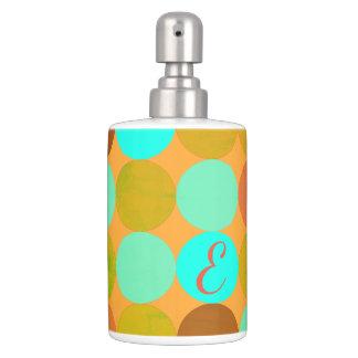 Turquoise Blue & Orange Circles Monogram Soap Dispenser And Toothbrush Holder