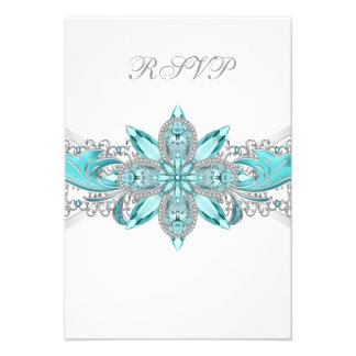 Turquoise Blue Silver Quinceanera RSVP Personalized Invites