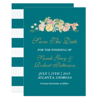 Turquoise Blue Spring Flower Wedding Save The Date Card