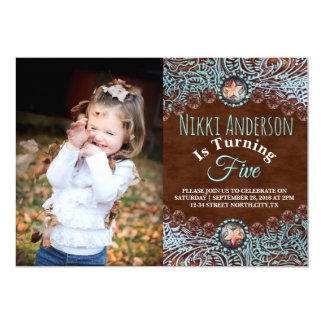 turquoise brown country western Birthday party Card