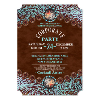 turquoise brown western country Corporate Party Card