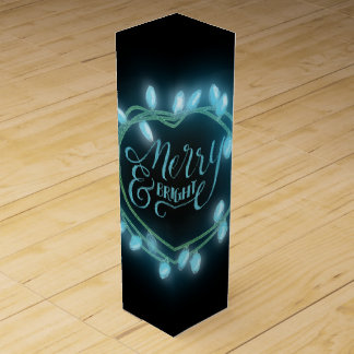 Turquoise Chalk Drawn Merry and Bright Holiday Wine Box
