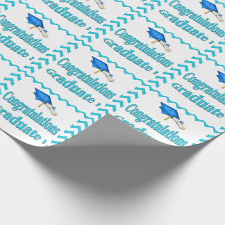 Turquoise Chevron Graduation Wrapping Paper