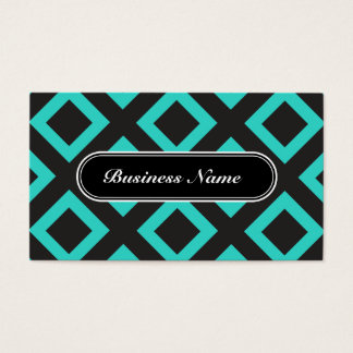Turquoise Chic Graphic Square Pattern Business Card