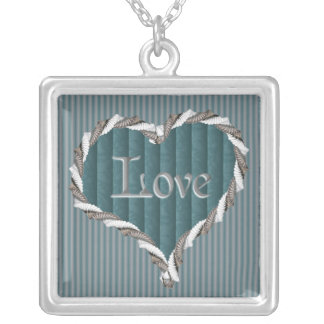 Turquoise Damask and Pinstripes Love Necklace