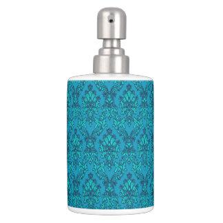 Turquoise Damask Bathroom Set