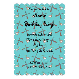 Turquoise duck hunting pattern personalized announcements
