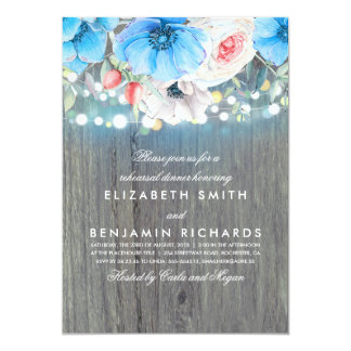 Turquoise Floral Rustic Wood Rehearsal Dinner Card